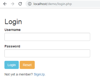 Login Page in PHP