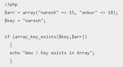 PHP array_key_exists() Function