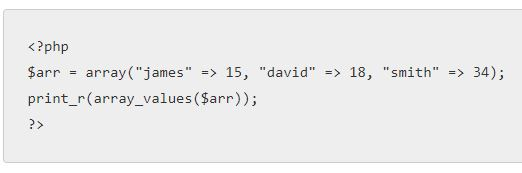 PHP array_values()
