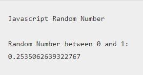 JavaScript Random Number
