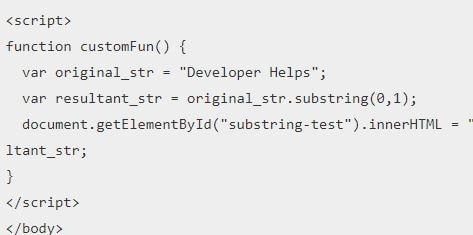 Substring JavaScript Method