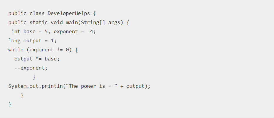 Java Program to Calculate the power of a number