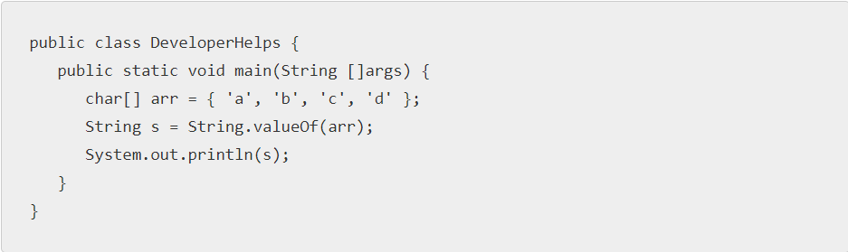 Java program to convert char array to String