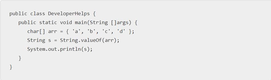 Java program to convert char array to String