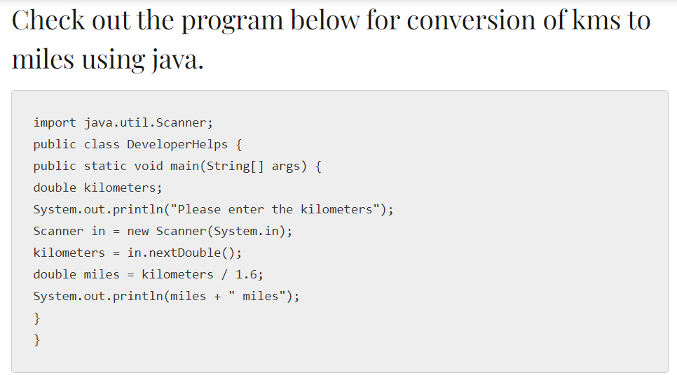 Java Program to Convert Kilometers(KMS) to Miles