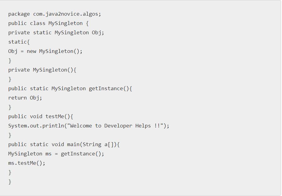 Singleton class In Java