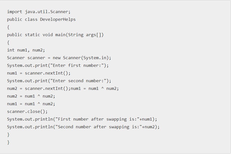 Swapping two numbers using bitwise operator in Java
