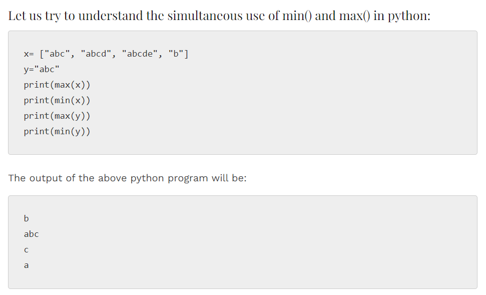 Python min() and max() Functions