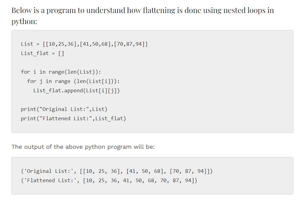 Flatten List Python