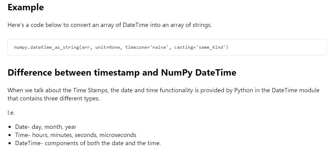 Python Numpy DateTime