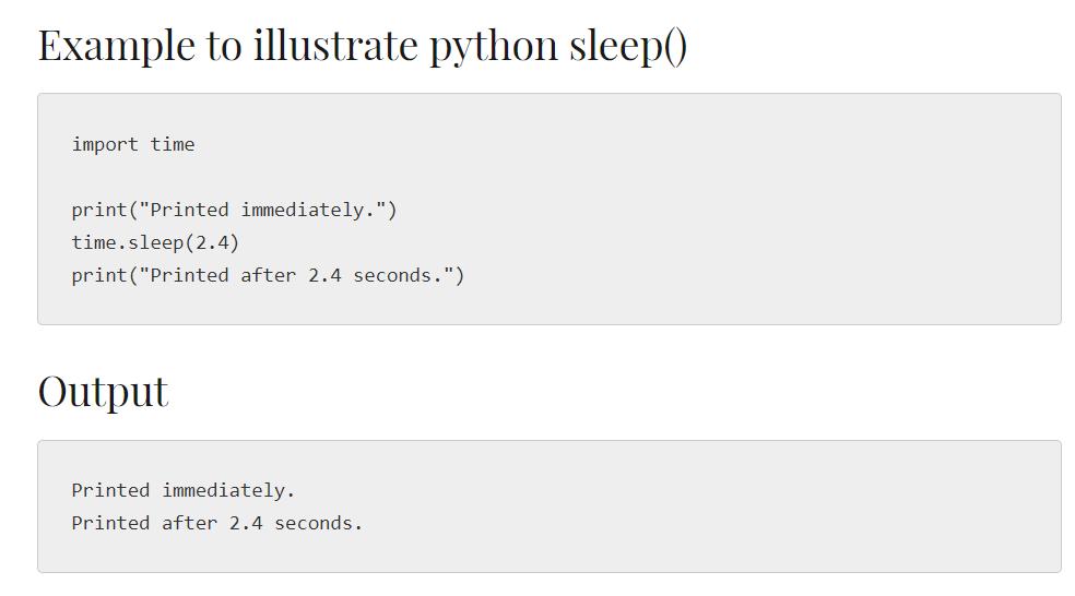 Python sleep()